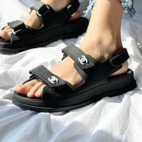 Брендові літні босоніжки Chanel відкриті чорні ТОП | Зручні гумові сандалії Шанель Італія