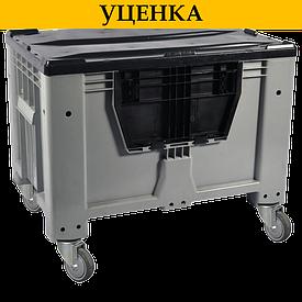 Контейнер Kayalarplastik KSK 1280-80 510 л с откидной стенкой c колесами, без крышки серый УЦЕНКА