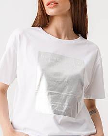Стильная котоновая футболка с принтом в белом и черном цвете свободного кроя в 4 размерах: S, M, L, XL.
