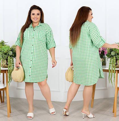 """Женское платье-рубашка в больших размерах 1030 """"Батист Клеточка"""" в расцветках"""