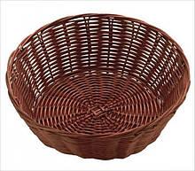 Корзина FoREST круглая темно-коричневая d20 см h7 см, Корзина для хранения хлеба. Хлебница темно-коричневая