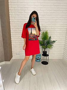 Летнее женское платье футболка красного цвета с принтом 42-52 р