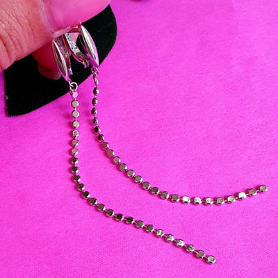 Срібні сережки ланцюжка - Довгі срібні сережки