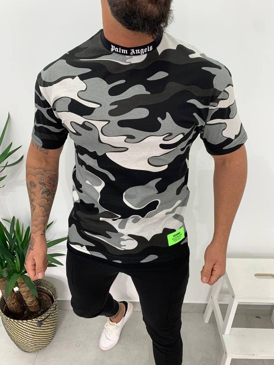 Мужская футболка Palm Angels милитари черно-белая