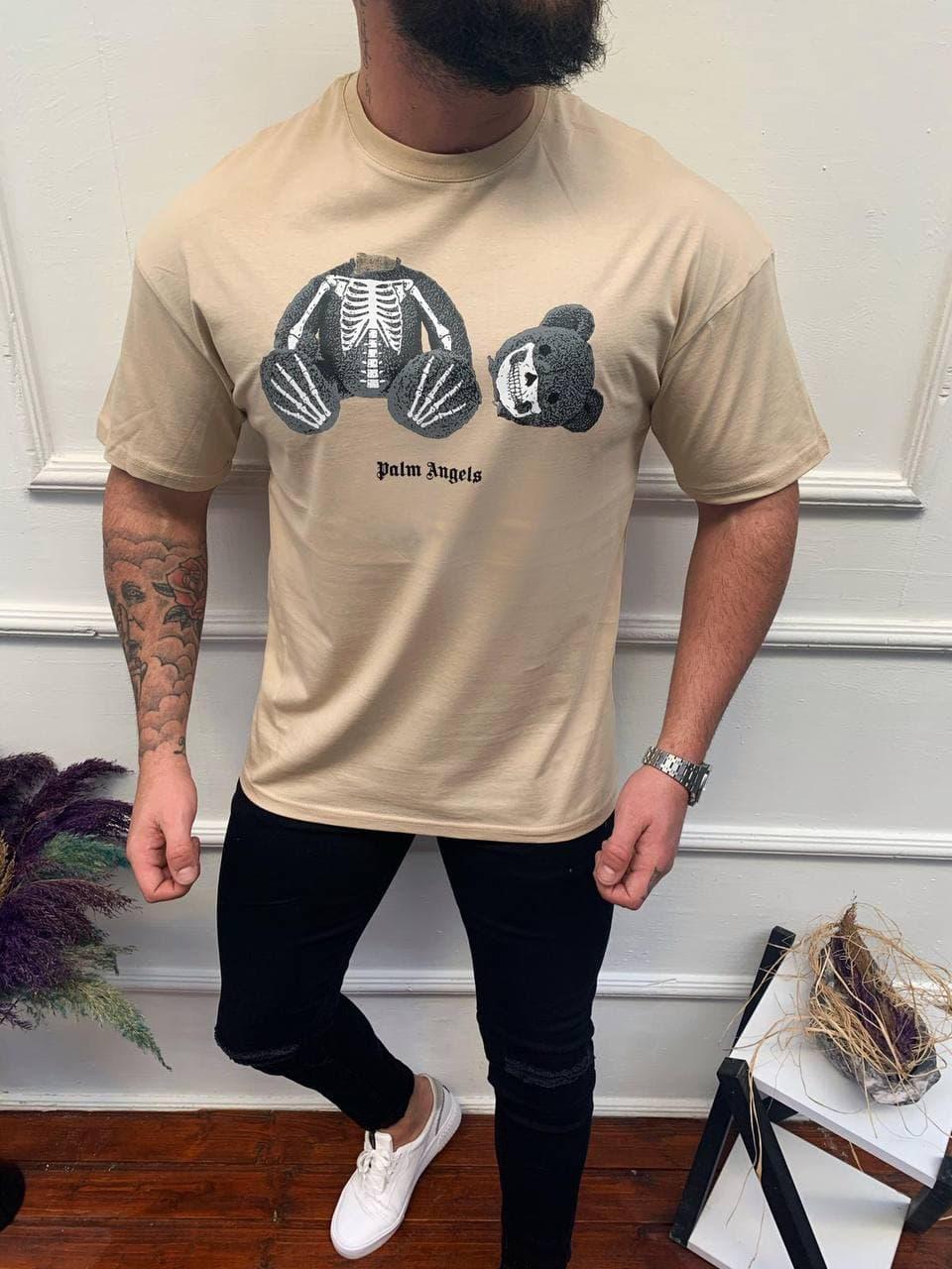 Чоловіча футболка Palm Angels бежева з ведмедем
