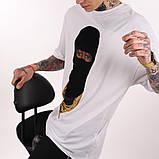 Мужская белая футболка с велюровым рисунком, фото 2