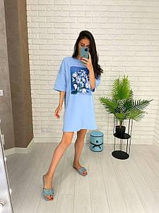 Стильное платье футболка голубого цвета с принтом пионов 42-52 р