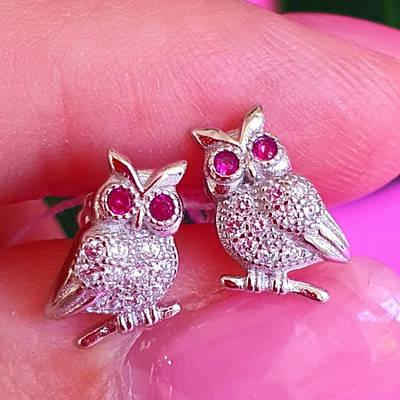 Сережки сови Срібло - Срібні сережки гвоздики сова