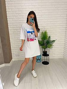 Летнее женское платье футболка белого цвета с принтом Санторини 42-52 р