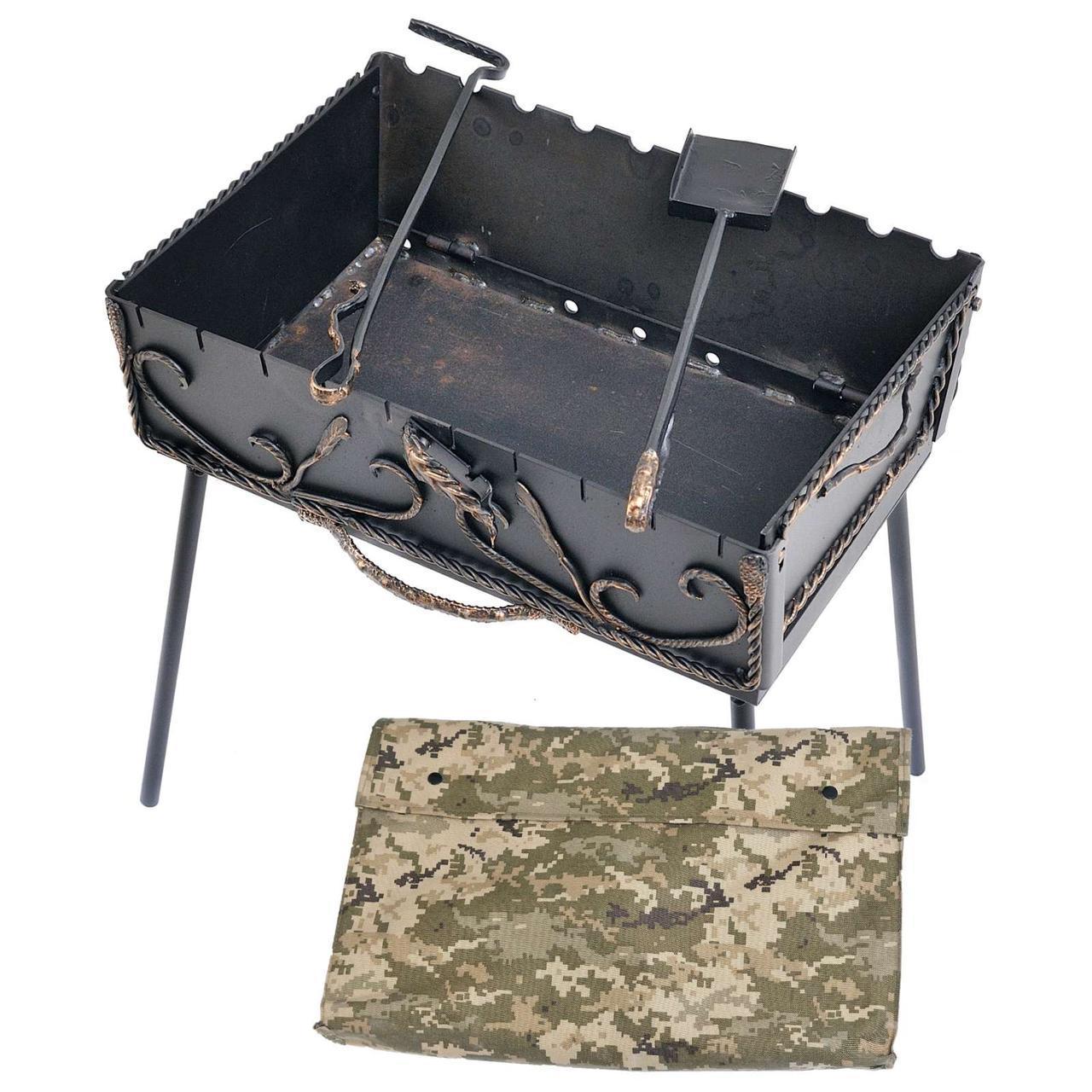 Мангал-валіза 3 мм на 10 шампурів 50х40х18 см з ковкою (Складаний, розкладний Барбекю)