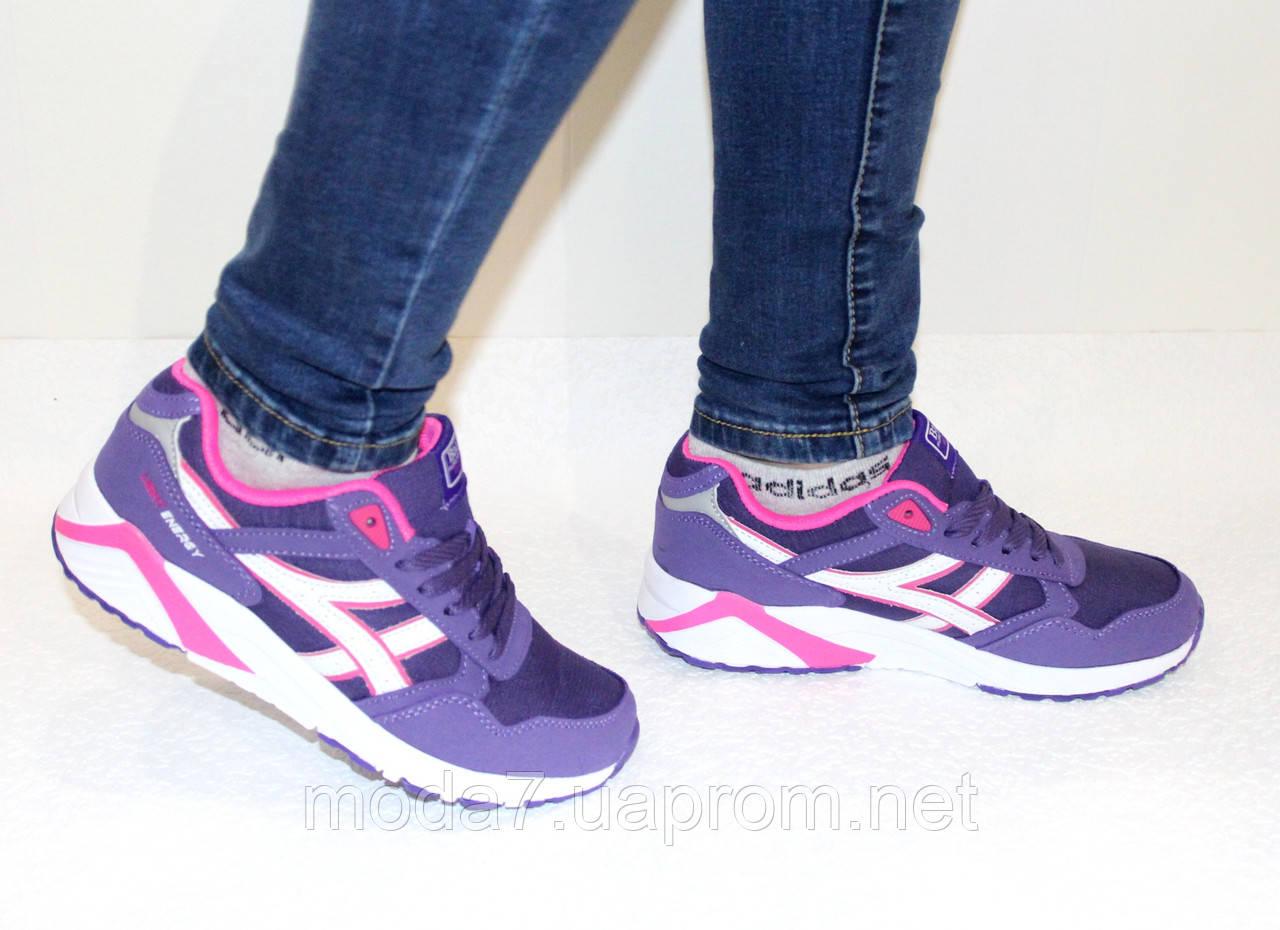 Кроссовки женские фиолетовые ASICS текстиль реплика