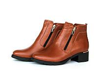 """Ботинки женские зимние """"Две молнии"""" из натуральной кожи рыжего цвета, фото 1"""