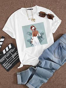 Летняя стильная футболка с принтом девушки в белом платье 42-58 р