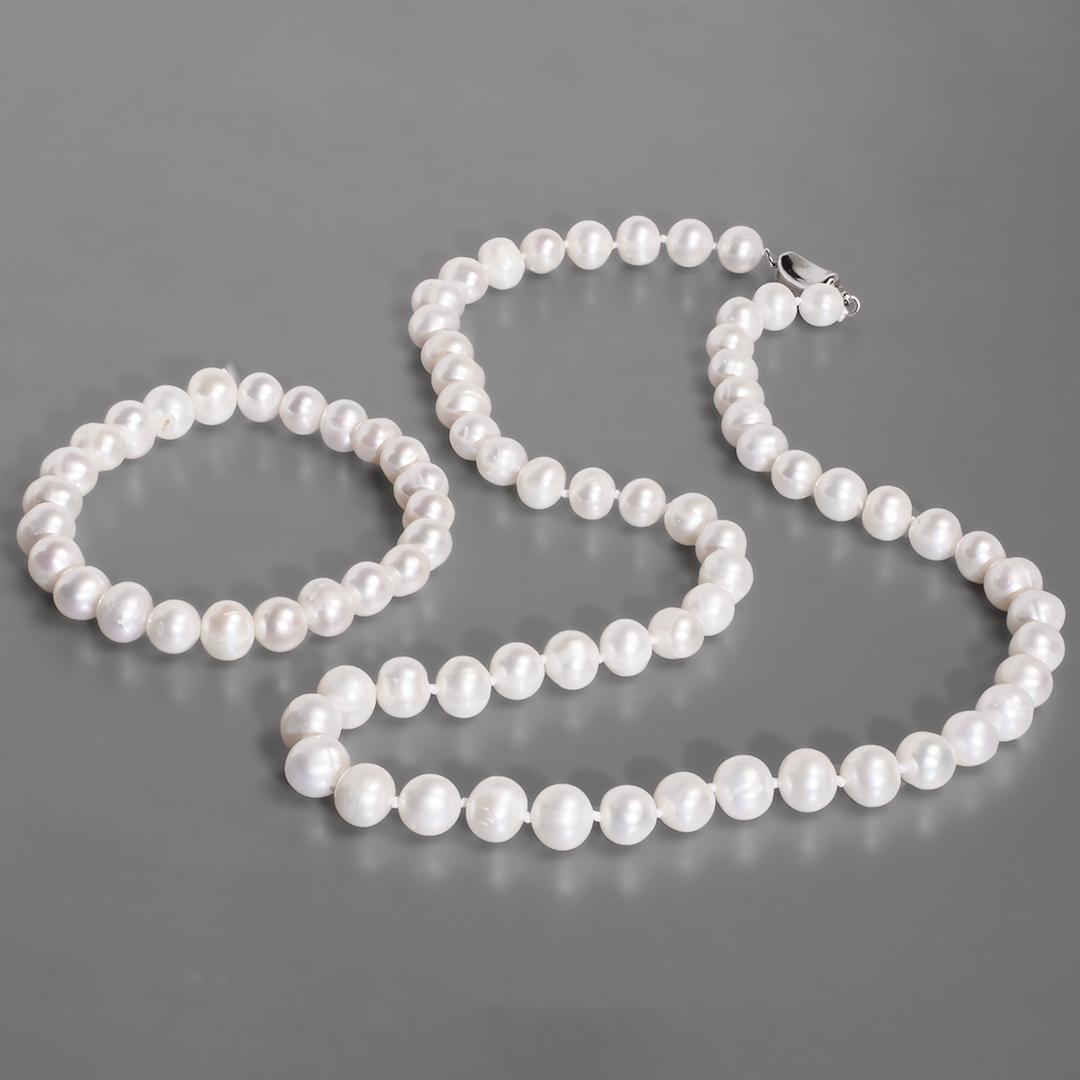 Комплект браслет и бусы из жемчуга белого, Ø8 мм., 102КМЖ