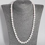 Комплект браслет и бусы из жемчуга белого, Ø8 мм., 102КМЖ, фото 2