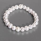 Комплект браслет та намисто із перлів білого, Ø8 мм, 102КМЖ, фото 3
