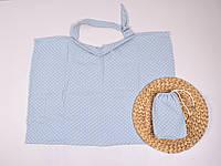 Муслиновая накидка для кормления с сумочкой-чехлом, голубая в горох, фото 1