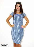 Платье женское голубое из натурального хлопка(паплин),горошек,42