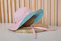 """Панама """"Шарліз"""" Бірюзові трикутники з рожевим"""