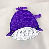 Поп Ит Игрушка антистресс  POP IT силиконовая игрушка Акула Фиолетовая, фото 2