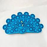 Поп Ит Игрушка антистресс  POP IT силиконовая игрушка Павлин Синий, фото 2