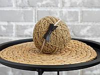 Пов'язка one size з шкіряним бантиком, темно коричнева
