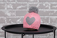 """Шапка """"`Heart"""", рожево-сіра 3-6 міс"""