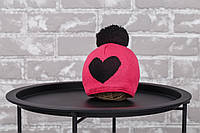 "Шапка ""`Heart"", малиново-чорна 3-6 міс."