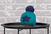 """Шапка """"Star"""", зелено-синя 3-6 міс."""
