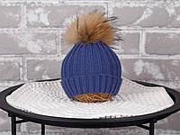 """В'язана шапочка """"Pumpkin"""", синій"""