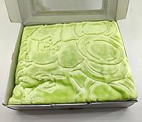 Дитячий плед ковдру Туреччина для новонародженого подарунок новонародженому салатова (НДП27)