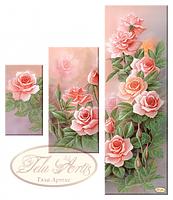 """Триптих для частичной вышивки бисером """"Розовый сад"""""""