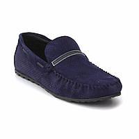 Удобные мокасины из нубука с перфорацией синие летняя обувь мужская Rosso Avangard Stripe Blue Nub Perf