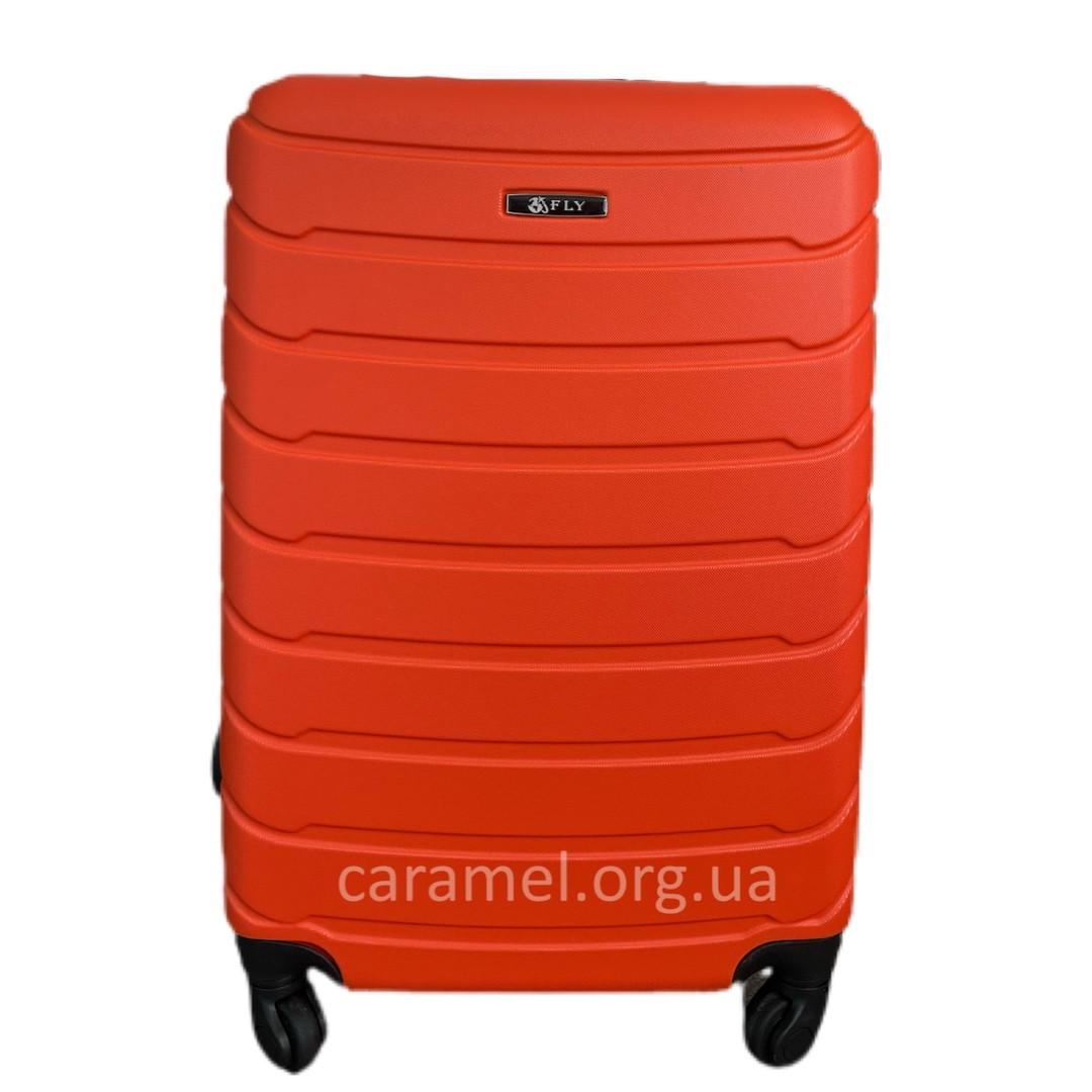 Валіза пластикова на 4х колесах середня M помаранчева   25х65х42 см   3.150 кг   62 л   FLY 1107