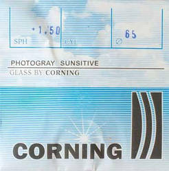 Лінза мінеральна, фотохромная із заготовок CORNING, Франція. Grey Індекс 1,523.