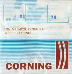 Лінза мінеральна, фотохромная із заготовок CORNING, Франція. Brown Індекс 1,523.