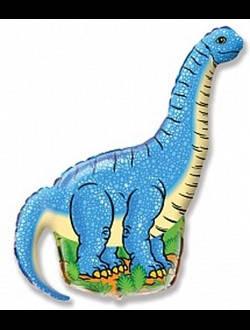 Фольгированныйшар фигура динозавр синий длинношеий ДИПЛОДОК  Flexmetal, 60*110 см (34')