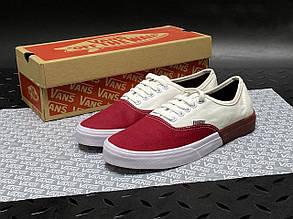 Мужские кеды Vans текстильные, белые с красным