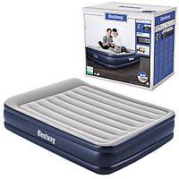 BW Велюр кровать 67630 (2шт) 203-152-46см,серо-син,встроенный насос 220-240V,сумка,ремкоплект, в кор