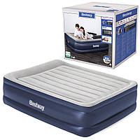 BW Велюр кровать 67614 (1шт) 203-152-56см,серо-син,встроенный насос 220-240V,сумка,ремкоплект, в кор