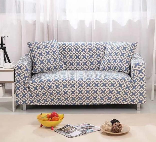 Чохол для двомісного дивана крихітку, чохли на 2-х місні дивани HomyTex з малюнком Абстракція блакитний