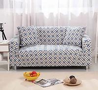 Чохол для двомісного дивана крихітку, чохли на 2-х місні дивани HomyTex з малюнком Абстракція блакитний, фото 1