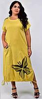 Нарядное женское льняное платье большого размера свободного кроя 48/50/52/54/56/58/60/62