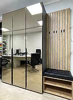 Шафа розпашна з фасадами дзеркало та м'яким сидіння з гачками на рейках., фото 1