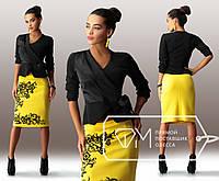 Костюм стильный женский с пиджаком и желтой юбкой  . Арт-3279/23