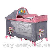 Кровать-манеж Lorelli Moonlight Plus 2 Layers Розовый