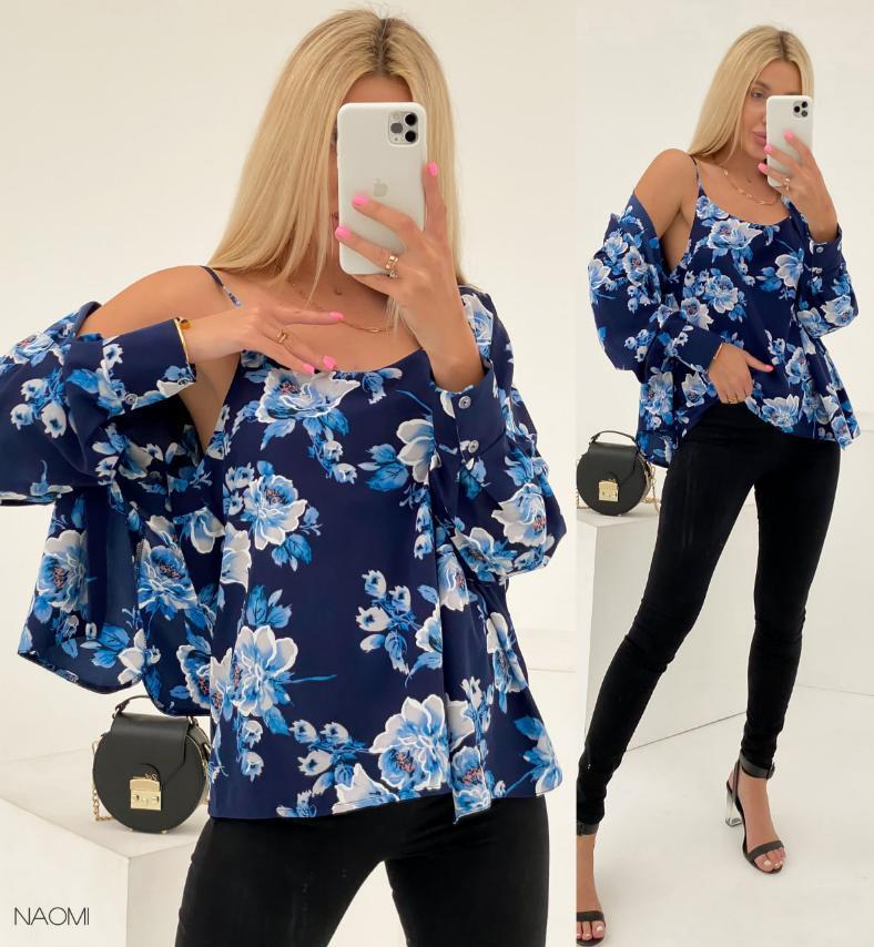 Женский набор Блуза+Маечка. Расцветки: Голубой принт, Синий принт, Беж горох, Зеленый принт.