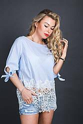 Полосатая блуза с ажурным кружевом Размер: L/XL, S/M