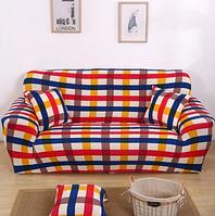 Чехлы на 2-х местные диваны, чехол на диван малютку двухместные бифлекс HomyTex с рисунком Клетка красно синий, фото 1