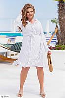 Красиве приталене легке плаття на запах спідниця-трапеція великі розміри батал 48-58 арт. 098